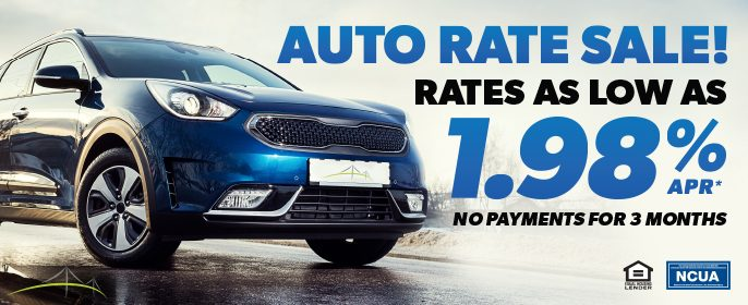 Auto Rate Sale! Rates as low as 1.98% APR. No payments for 3 months